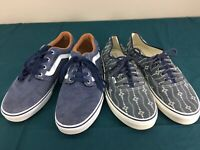 Used LOT 2 Pairs Mens Lace Up Vans Skate Shoes Low Top sz 10.5 Canvas Blue Print