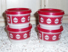 New~NIP~Set of 4 TUPPERWARE Snack Cups~Holiday Christmas Ornaments #1229