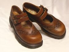 DR DOC MARTENS Size 9 (UK 7) Brown Leather Wingtip Dual Strap Mary Jane Creepers