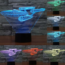 Color Changing Warship Art 3D Touch Switch LED Night Light Desk Lamp Gift + USB