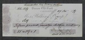 1879, Cheque, Brecon Old Bank, Carmarthen, Wales (Wilkins & Company)