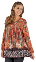Nwt SACRED THREADS boho tie dyed batik rayon hippy floral TOP TUNIC O/S fits 2X
