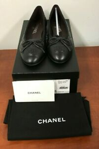 Chanel G26250X01725 Black Quilted Lamb Skin Leather Ballet Flats 36.5