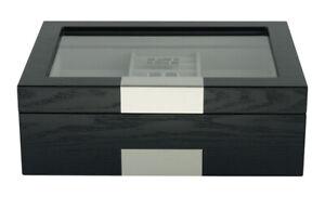 Black Wooden Cufflink Display Box Ring Tie Clip Storage Case Organizer 48c