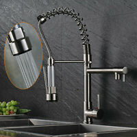 Stainless Steel Kitchen Sink Faucet Single Handle Pull Down Spray Brushed Nickel