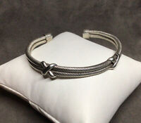 VTG Taxco 925 Sterling Silver 9mm Double Braided Crossover-X Cuff Bracelet 7""