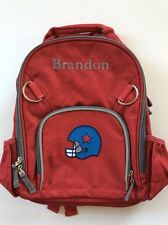Pottery Barn Kids Small Fairfax Red Gray Backpack Football name BRANDON New