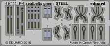 Eduard 1/48 McDonnell F-4 Phantom Seat Belts Green STEEL # 49111