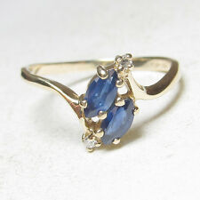 Estate 10K Yellow Gold Natural Marquise Blue Sapphire And Diamond Ring 0.60 Cts