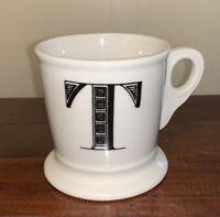 Anthropologie Letter T Initial Coffee Mug White Black Retro Shaving Cup Monogram