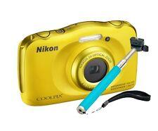 NIKON Coolpix S33 WATERPROOF Digital Camera 13MP + Selfie Stick YELLOW *NEW*