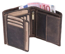 Herren Geldbeutel Damen Geldbörse Portemonnaie Portmone LEAS in Echt-Leder,braun