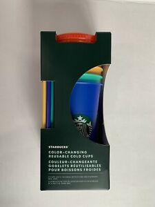 Starbucks -  Color-Changing Reusable Cold Cup Set - Limited Edition - Pride