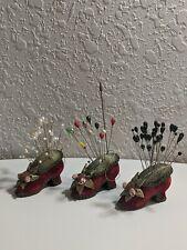 Vtg Lot 81 Hat Corsage Pins 3 Velveteen Victorian High Heel Pincushion Ornaments