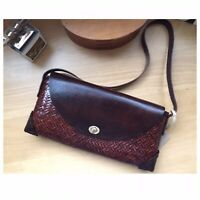 New Woven Straw and Leather Shoulder Bag Summer Brown Straw Handbag Clutch