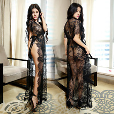 Women's Sheer Lace Lingerie Long Dress Robe + G-string Underwear Set Nightwear