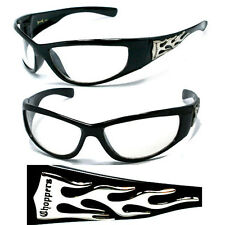 Mens Choppers Bikers Racing Sports Motocycle Wrap Style Sunglasses - Clear C19