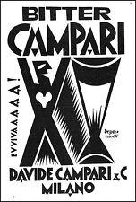 PUBBLICITA' 1927 BITTER CAMPARI FORTUNATO DEPERO ROVERETO FUTURISMO EVVIVA ARTE