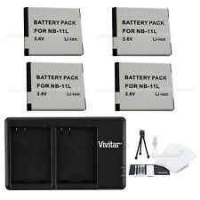 4x NB-11L Replacement Battery & USB Dual Charger for Canon A3400 4000 2300 ELPH