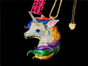 Women's Multi-Color Crystal Enamel Unicorn Horse Pendant Betsey Johnson Necklace