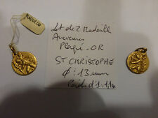 Lot de 2 ancienne médaille St Christophe CHRISTOPHER plaqué OR France 1960