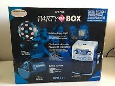 Craig CPB-554 Party in a Box Karaoke Machine CD+G Disco Light Bubble Machine New