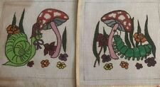 2 Vintage needlepoint hand painted canvas caterpillar,snail with mushroom 20x17