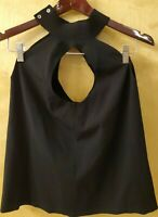 Milly Womens Sleeveless Neck Keyhole Back & Front Knit Blouse Black Medium NWD