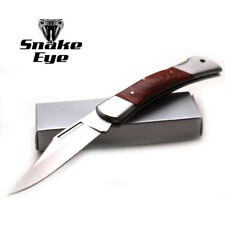 Snake Eye Tactical Lock Back Wood Handle Collector Folding Pocket Knife