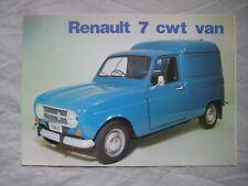 1972 Renault 7 cwt Van Brochure