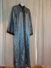 VTG Moroccan Kaftan Robe  in Blue SIlk with Black Trim Embroidery