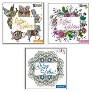 Tallon Colour Therapy Adult Colouring Books - Set of 3, Floral, Animal & Pattern