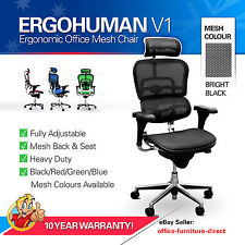 *NEW* Ergohuman V1 Mesh Chair Ergonomic Office Gaming Chairs Arms & Headrest