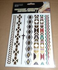 METALLIC TEMPORARY CROSS BRACELET WRISTBANDS ARMBANDS TRIBAL TATTOO