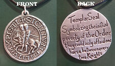 MASONIC SEAL NECKLACE. HAND CRAFTED IN PEWTER IN THE UK. LEATHER CORD