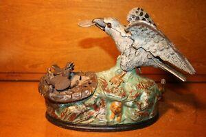 Original Cast Iron Mechanical Bank EAGLE AND EAGLETS by J & E Stevens Cir.1883