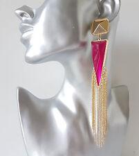 Stunning 15cm LONG PINK & gold coloured bead & chain tassel drop earrings NEW
