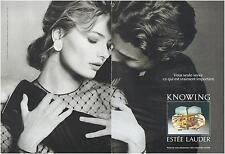 ▬► PUBLICITE ADVERTISING AD Parfum Perfume Estée Lauder Knowing Elgort 2p 1991