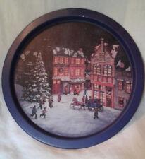 Victorian Christmas City Scene Round Metal Tray