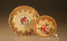Paragon Peach with Pink Cabbage Roses and Gold Cup and Saucer, C. 1939 England