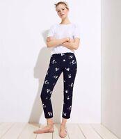 Ann Taylor LOFT Womens Size 6 Blue Floral Trouser Skinny Slim Leg Crop Pants