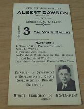 "RARE 1900's CAMPAIGN Advertising Flyer/Card~""ALBERT DAWSON"" U.S. Congress/IOWA~"
