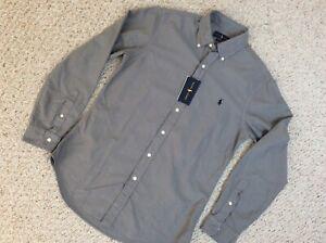 NWT Men's Polo Ralph Lauren Long Sleeve Shirt Oxford Slim Fit Gray  M