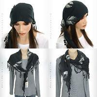 MUDD Women's BLACK SCARF or Head Wrap GRAY & WHITE Stitched LEAVES Pom FRINGE