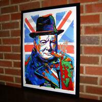 Winston Churchill Prime Minister United Kingdom UK Poster Print Wall Art 18x24