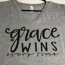 Girlie Girl Grace Wins Women's Short Sleeve Tee T Shirt XL V Neck Gray
