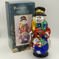 "VINTAGE TRADITIONS HAND PAINTED GLASS SNOWMAN WITH WOODEN BASE 18"" TALL"