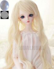 "1/3 8-9-10"" BJD Doll Pullip Wig Blonde Curly Wavy Hair Long Luts DZ DOD SD +Cap"