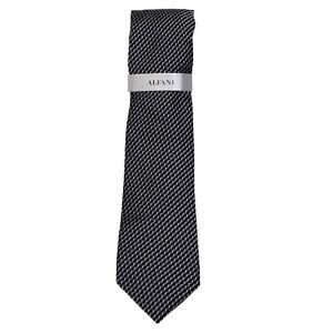 Alfani Men's Neck Tie Black Perrone Mini Geo Skinny Slim Silk Accessory NWT