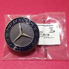 Mercedes Benz Flat Hood Emblem OEM Blue Laurel Wreath Badge Bonnet C E S Class